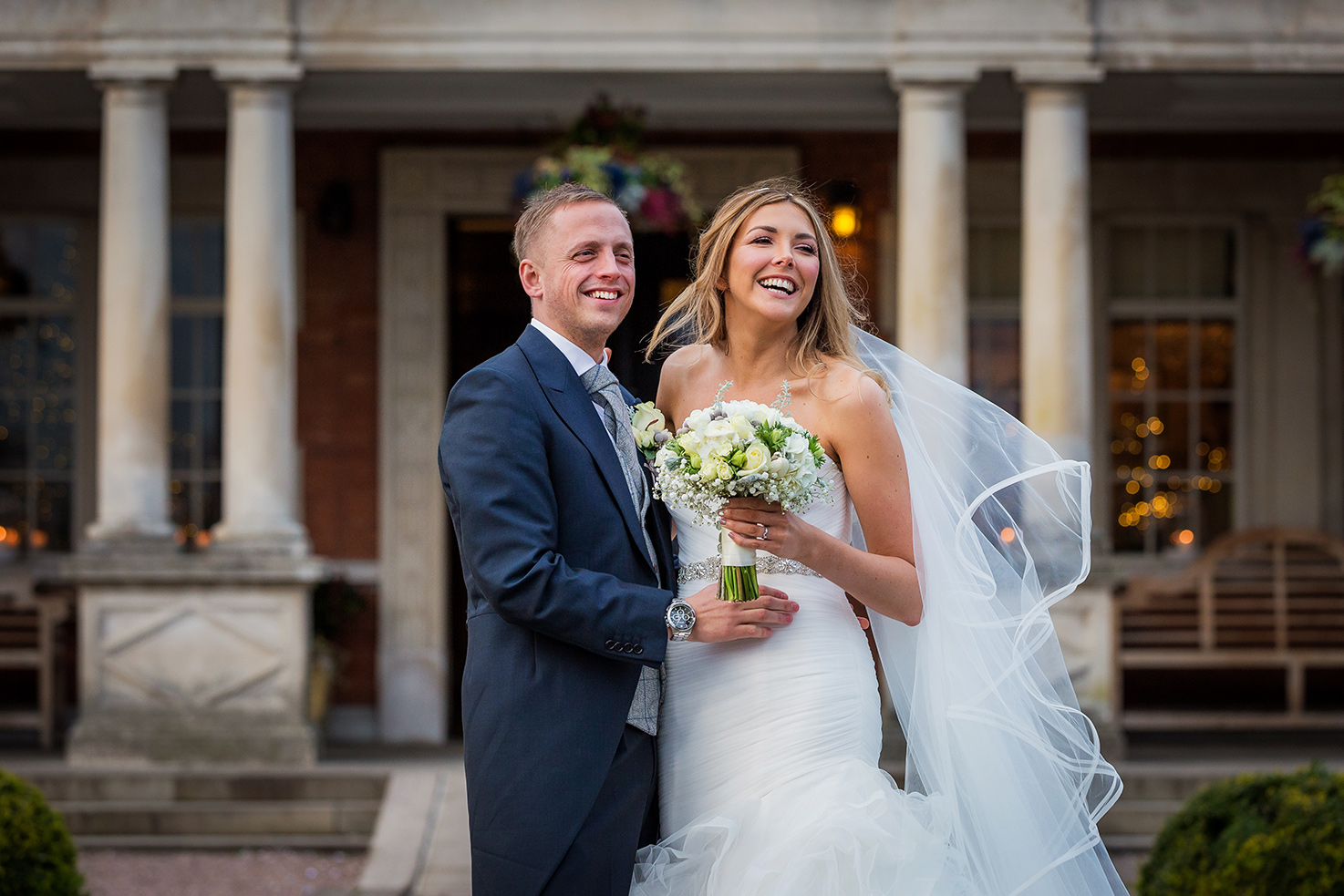 The bride and groom at Eaves Hall