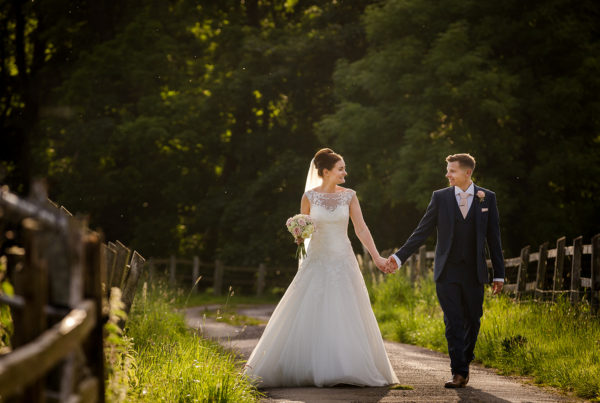 The newlyweds at sunset during their wedding at The Villa in Wrea Green