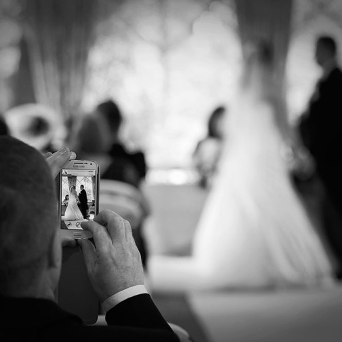 Wedding ceremony mobile phone photo