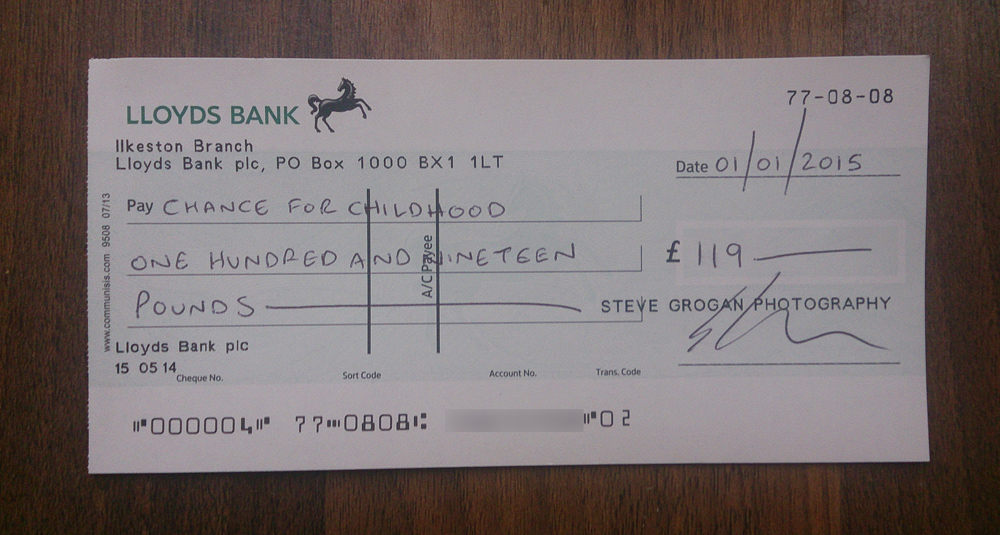 Chance For Childhood Cheque