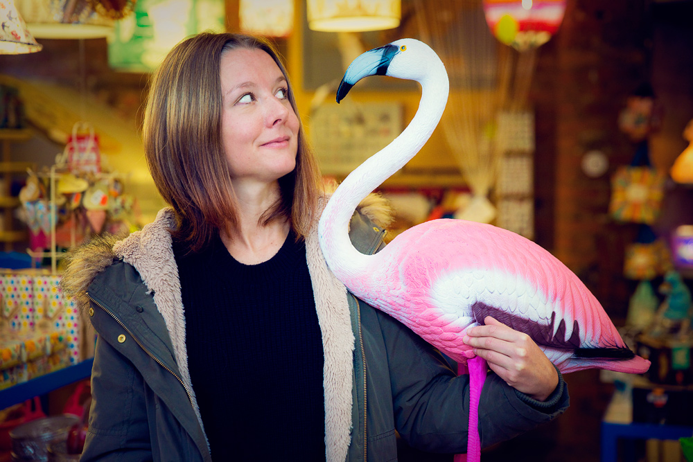 Manchester based videographer Jo Gendle holding a flamingo