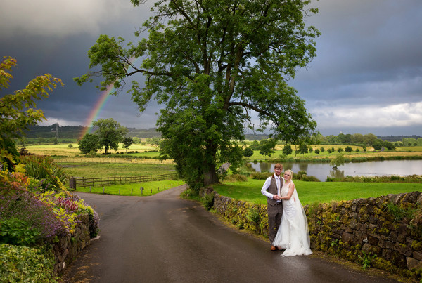 Rainbow during a rainy wedding at The Ashes in Leek