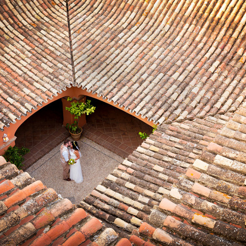The bride and groom during a Destination Wedding in Spain