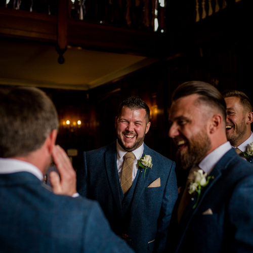 The groomsmen during a wedding in Warwickshire