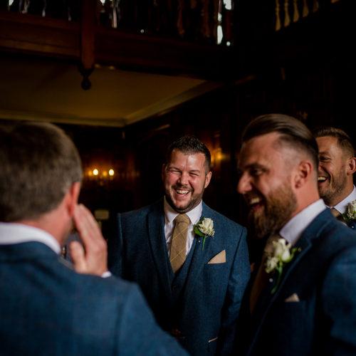 The groomsmen during a wedding in Warwickshire
