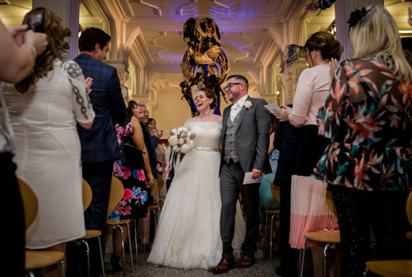 Rachel and Danny were married under Stan the T-Rex at Manchester Museum