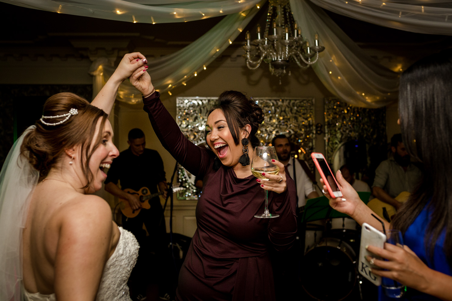 Wedding reception and live band at Eaves Hall