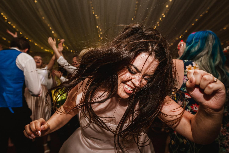 Bridesmaid on the dancefloor at the Villa in Wrea Green