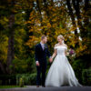 The bride and groom go for a stroll at Inglewood Manor