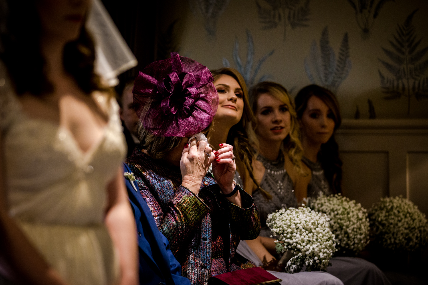 Mother of the bride cries during the wedding at Great John Street Hotel
