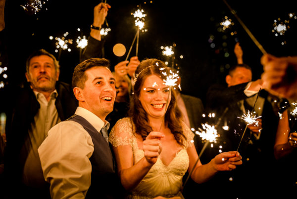 Sparklers on the roof top terrace during a great John street hotel wedding