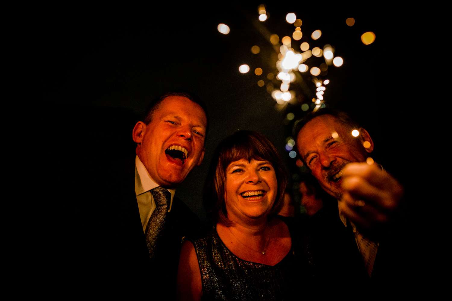 Sparklers at a Manchester City centre wedding