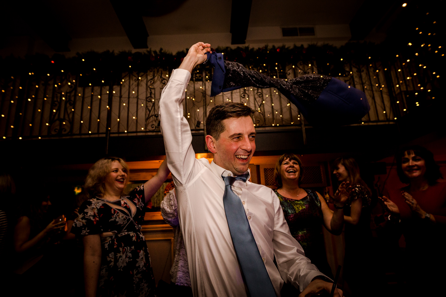 The groom on the dance floor at a Manchester wedding