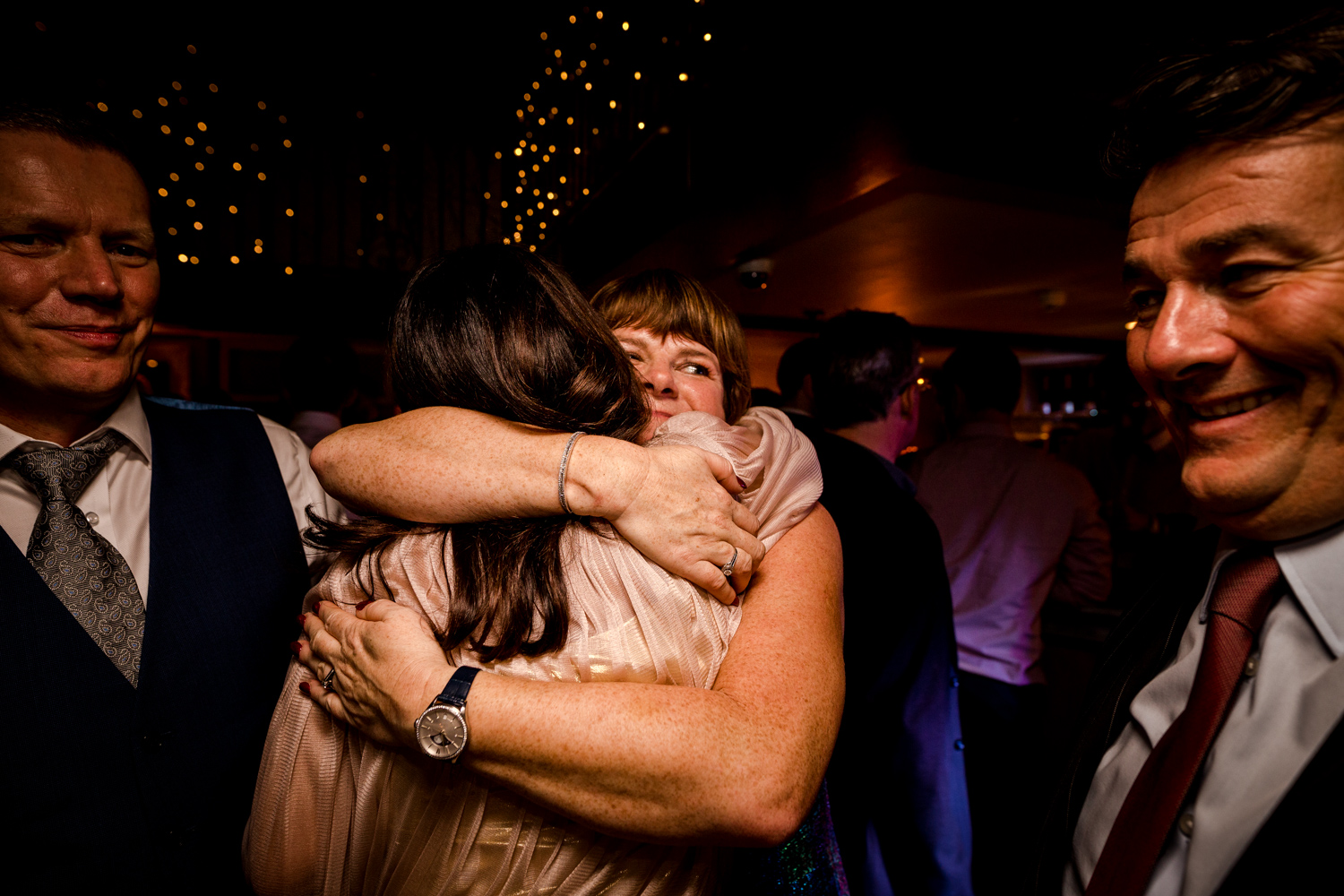 Big hugs for the guests at a Manchester wedding