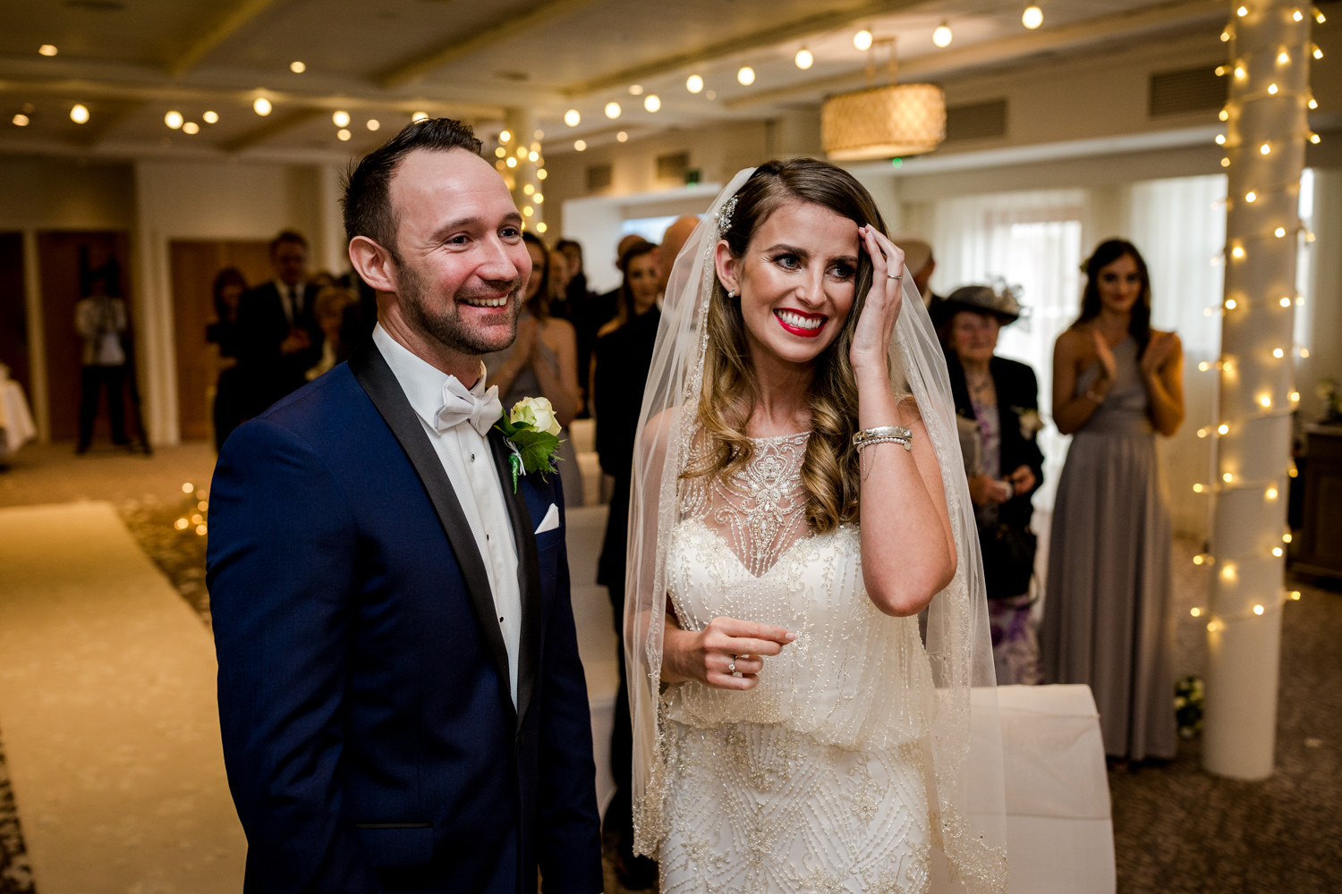 Happy bride and groom at Stanley House during a winter wedding