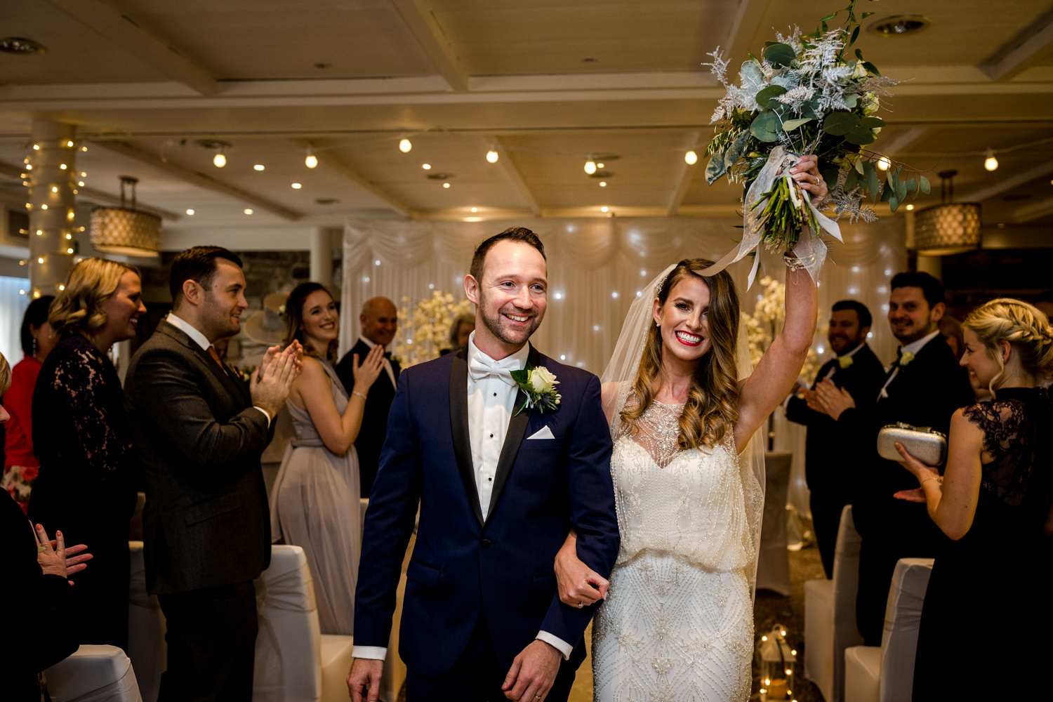 The happy bride during a winter wedding at Stanley House