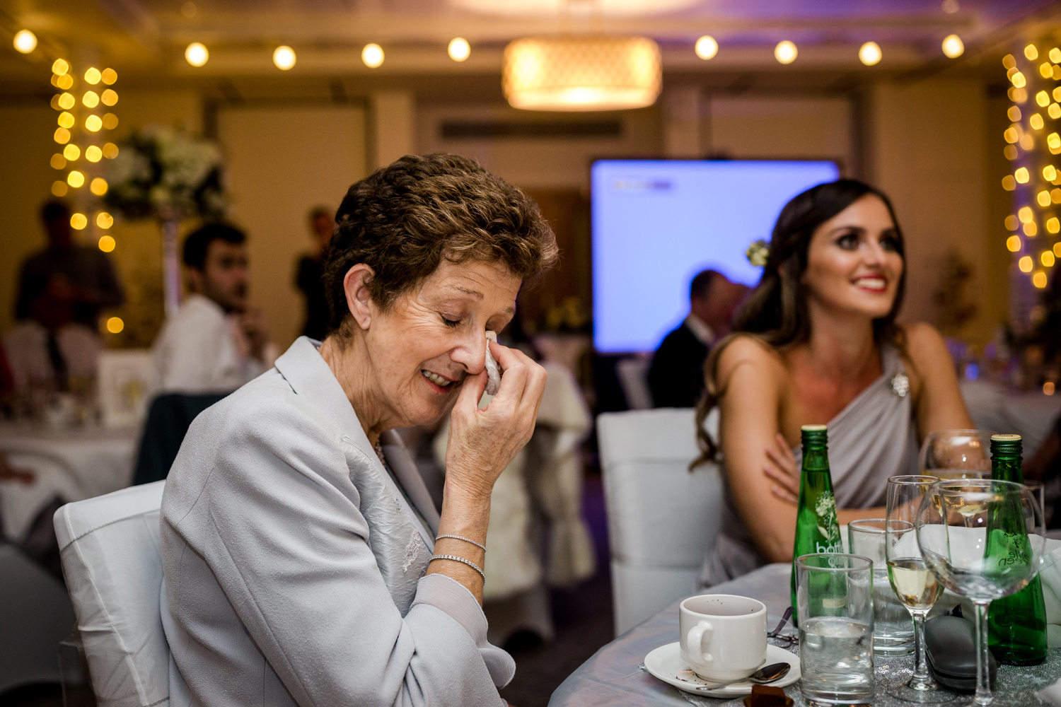Mother of the bride in tears during a winter wedding at Stanley House