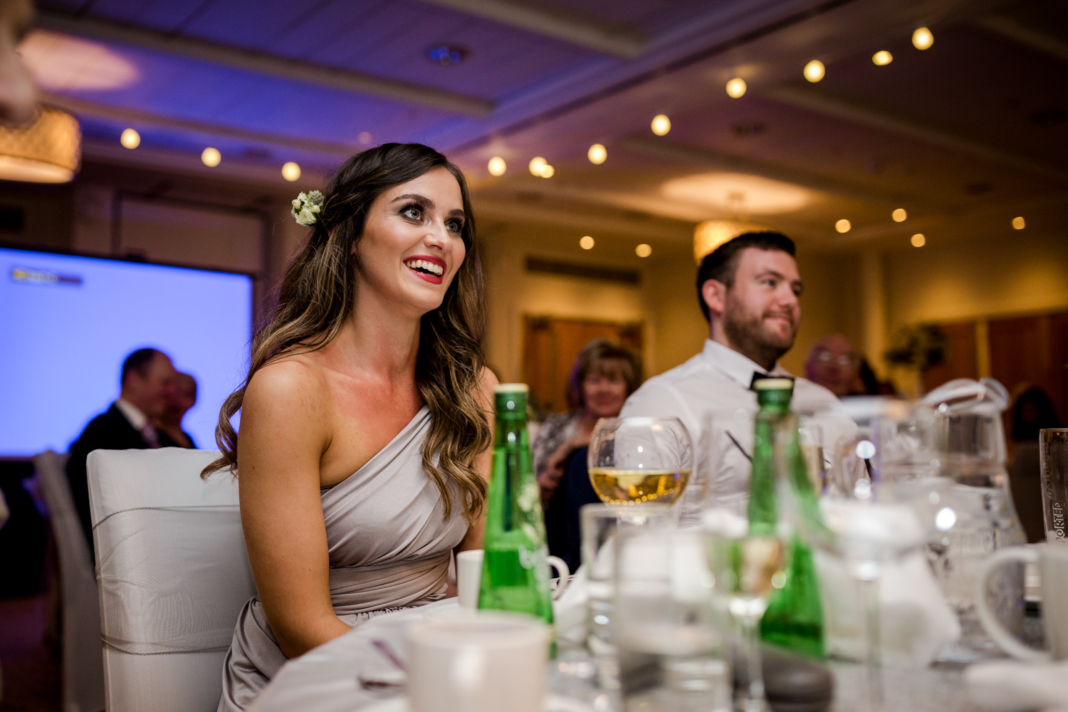 A bridesmaid during the speeches