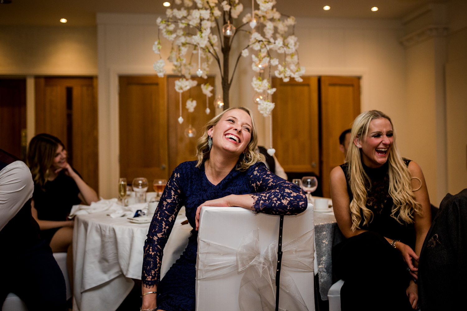 The guests enjoying the wedding speeches at Stanley House Hotel