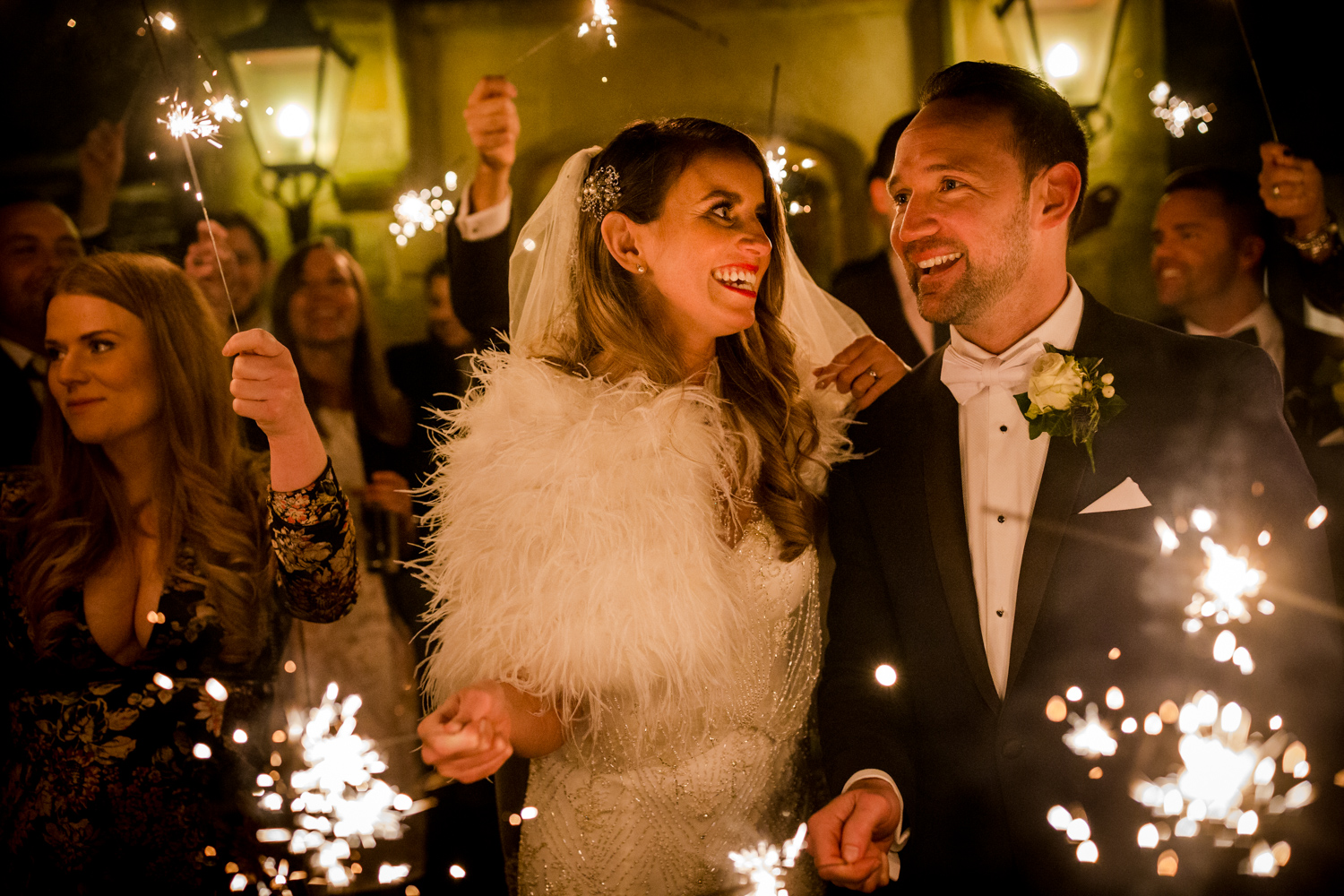Sparklers during a winter wedding at Stanley House