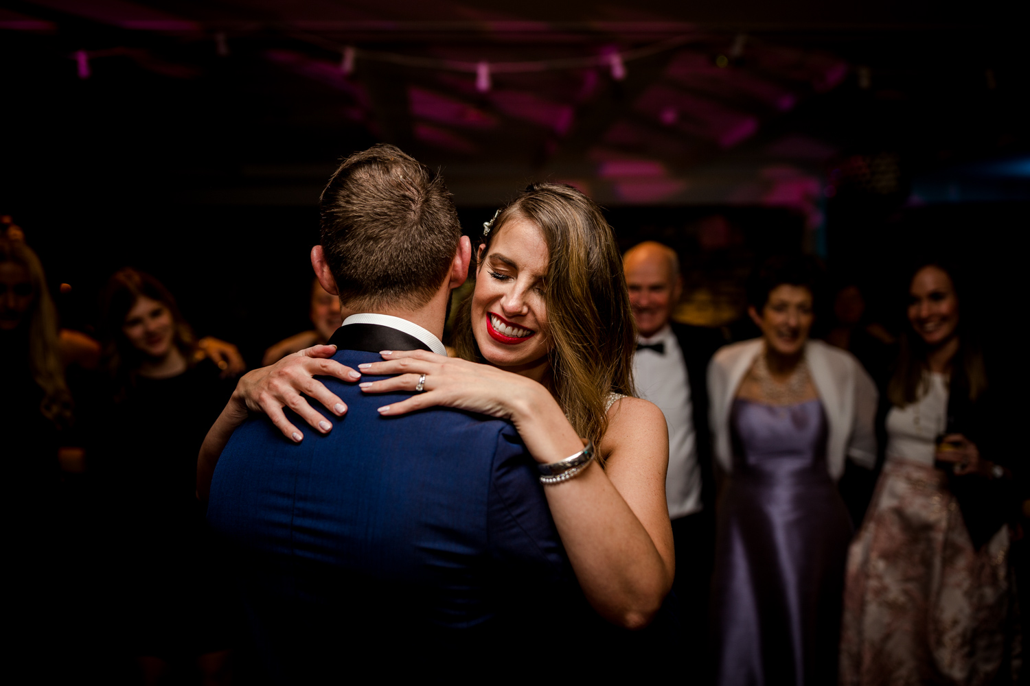 The bride and groom during their first dance at Stanley House