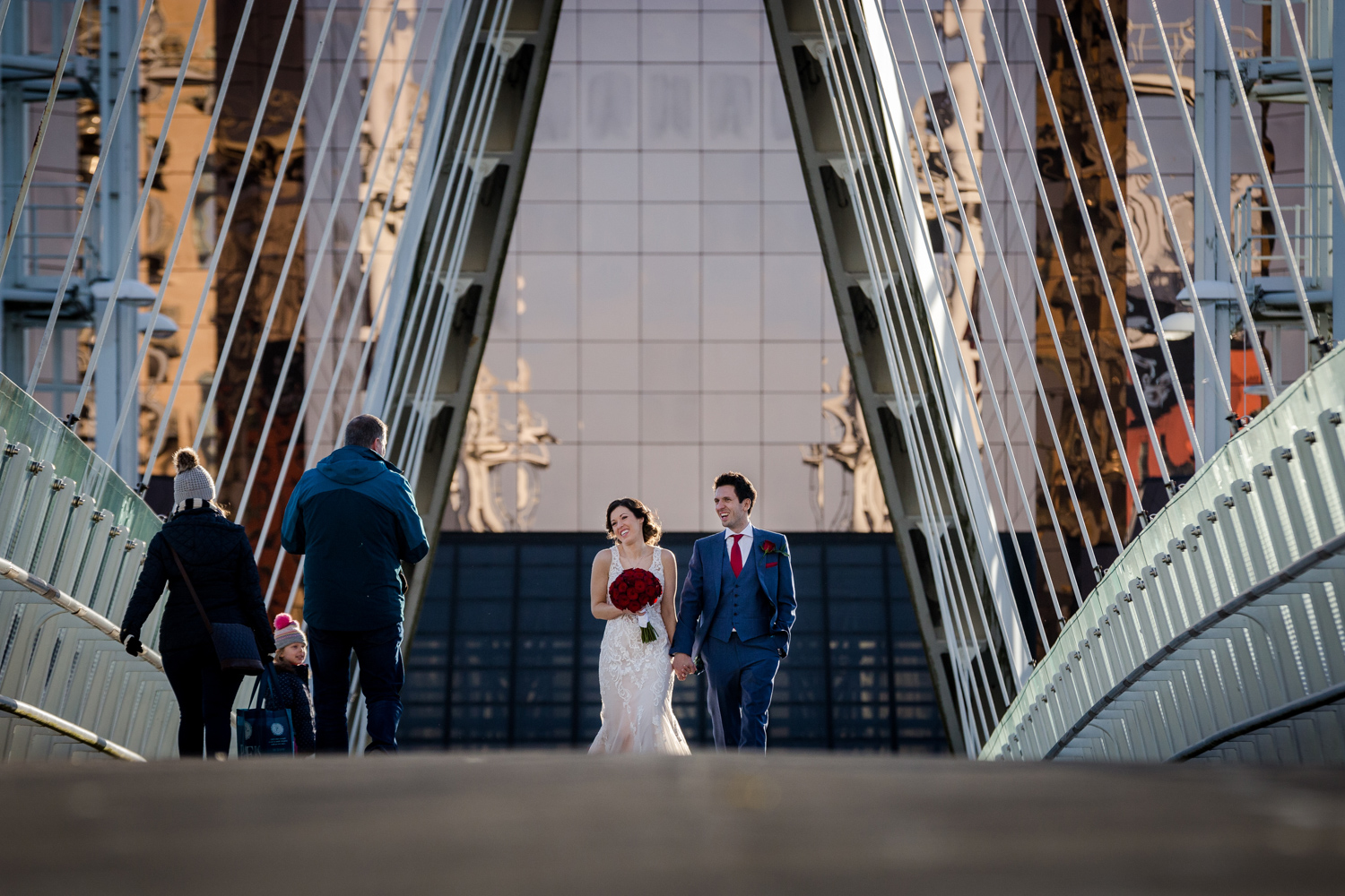 The bride and Groom at Media City in Salford
