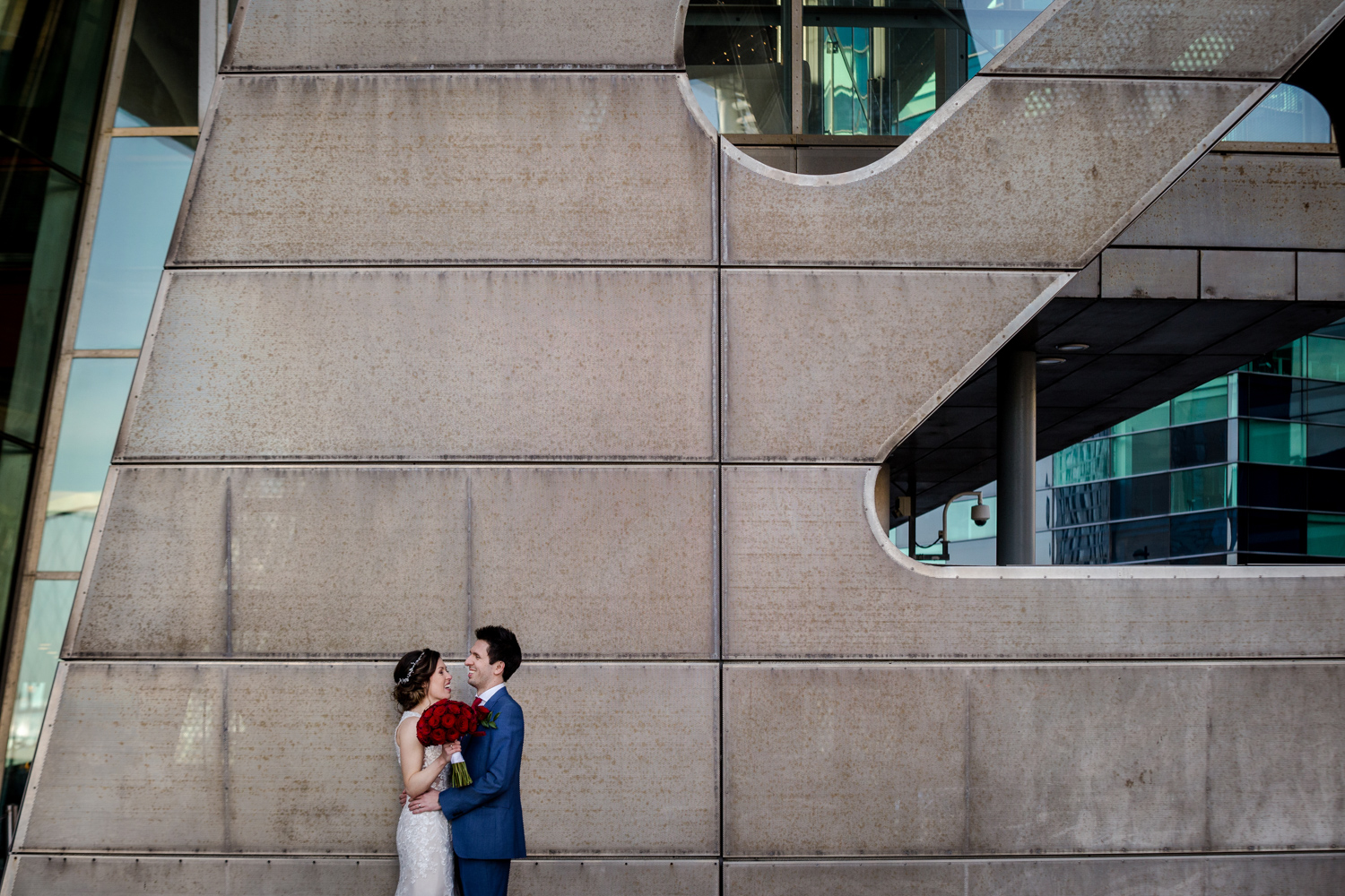 Bride and groom at the Lowry Theatre