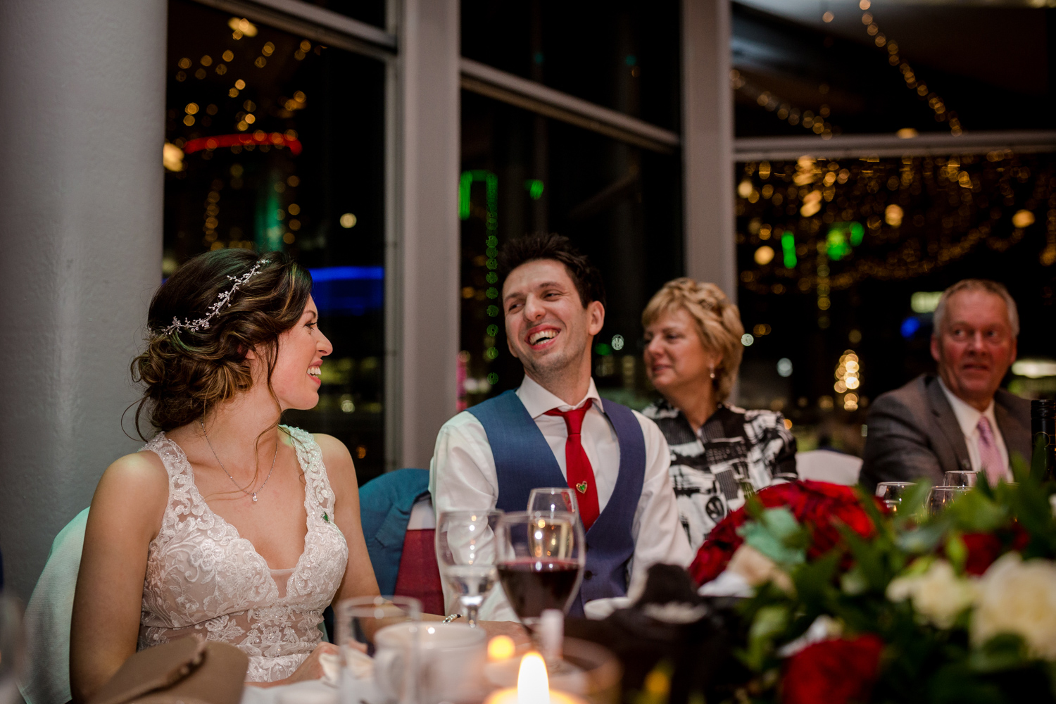Laughter during the wedding speeches in Salford Quays