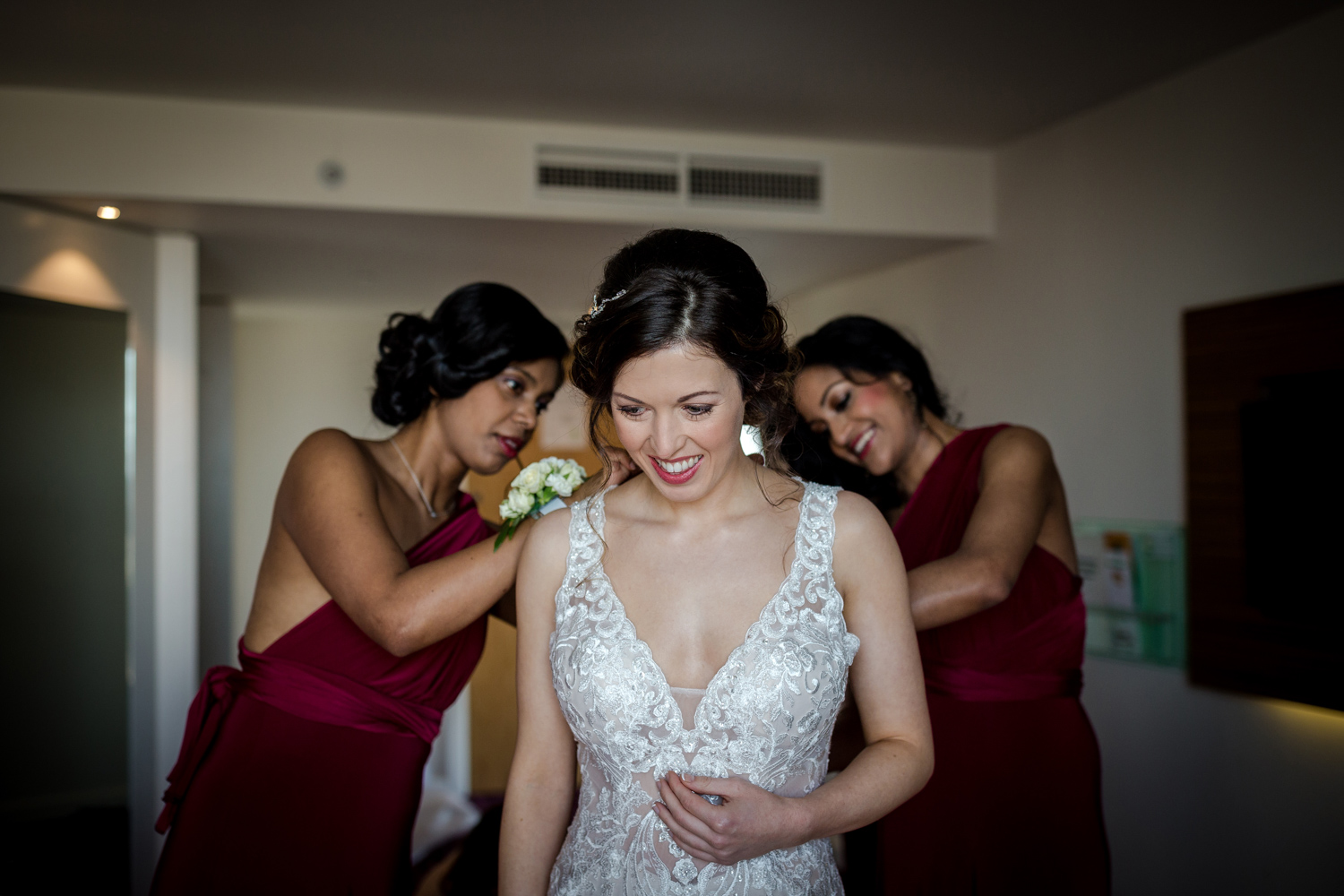 The bride getting ready during her Lowry Wedding in Salford Quays