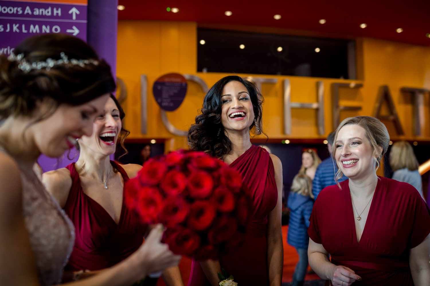 The bride arrives at the Lowry theatre