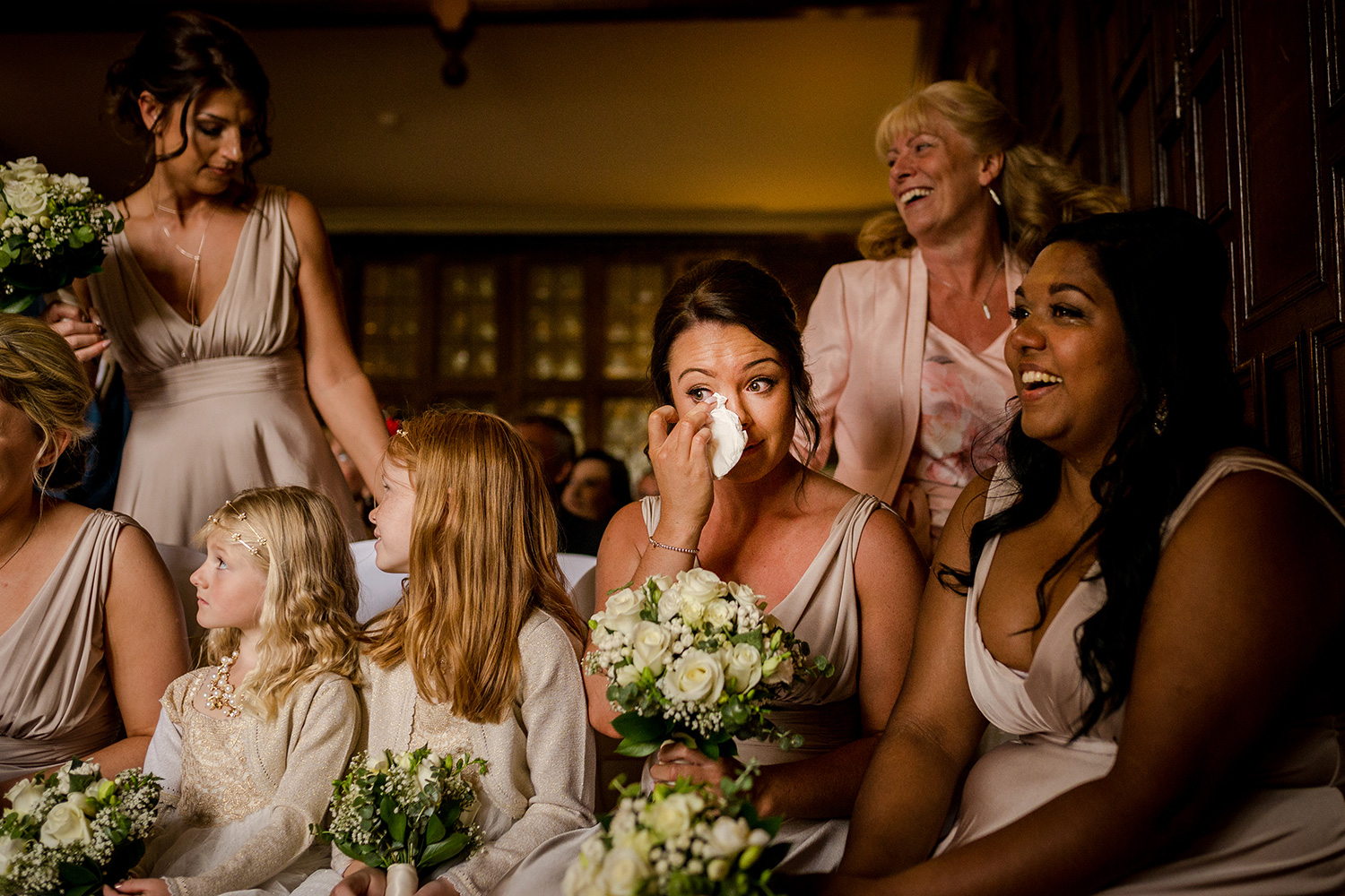 Bridal party during a billesley manor wedding in Warwick