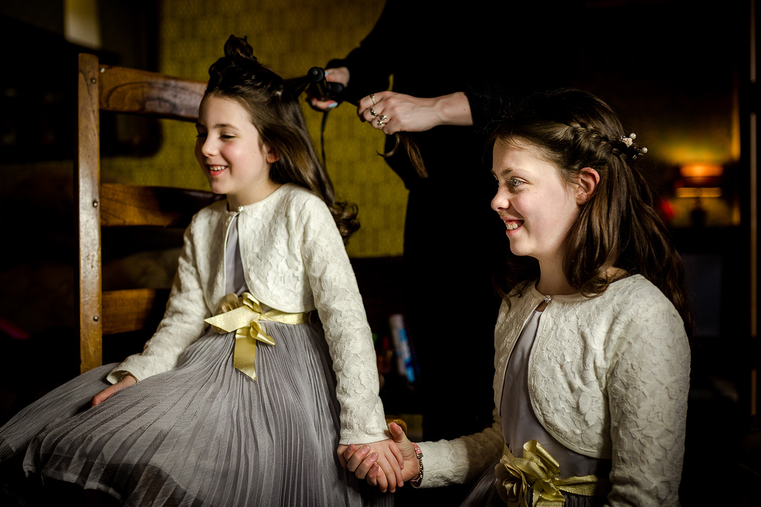 The flower girls getting ready for a Holmes Mill Wedding