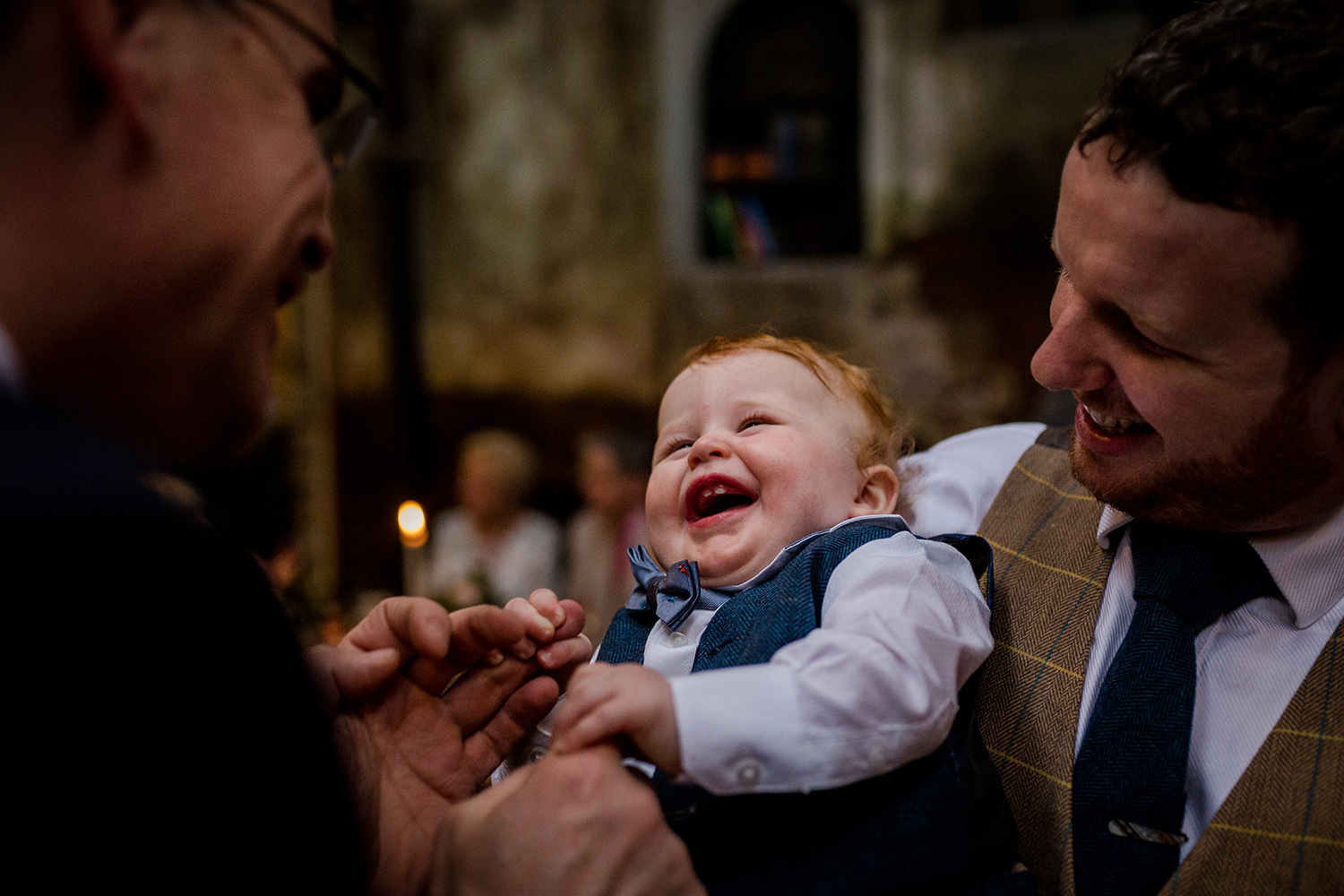 Laughing baby at Homes Mill in Clitheroe