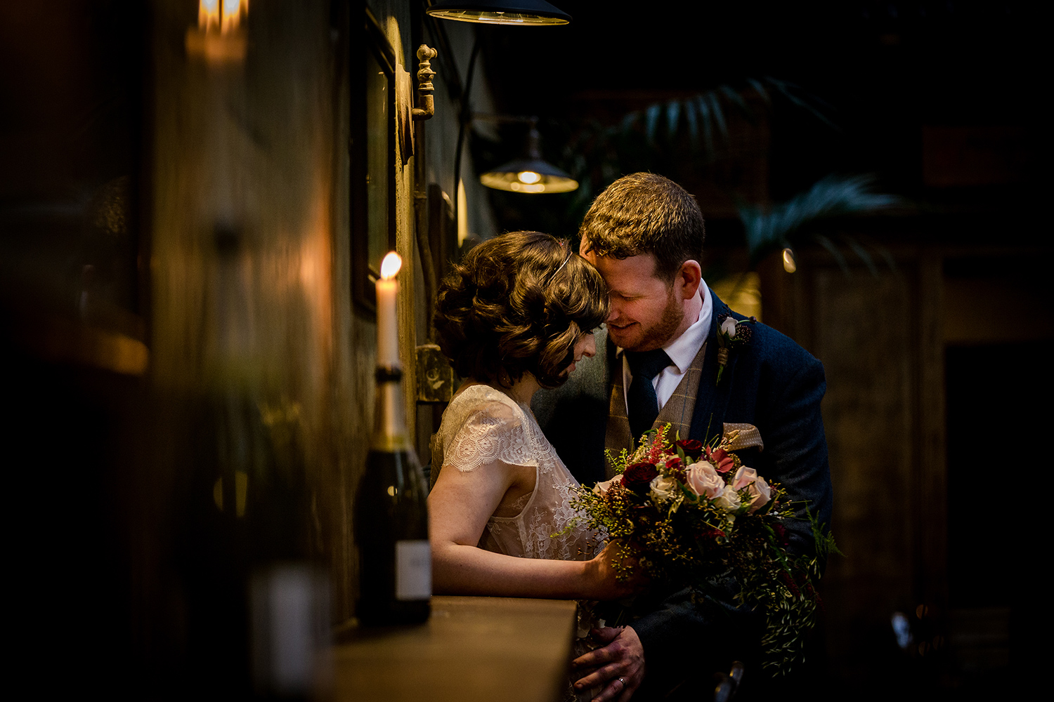 The bride and groom during their Holmes Mill Wedding in Clitheroe