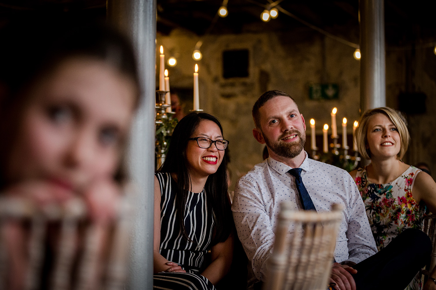 The guests enjoying the wedding speeches in Clitheroe