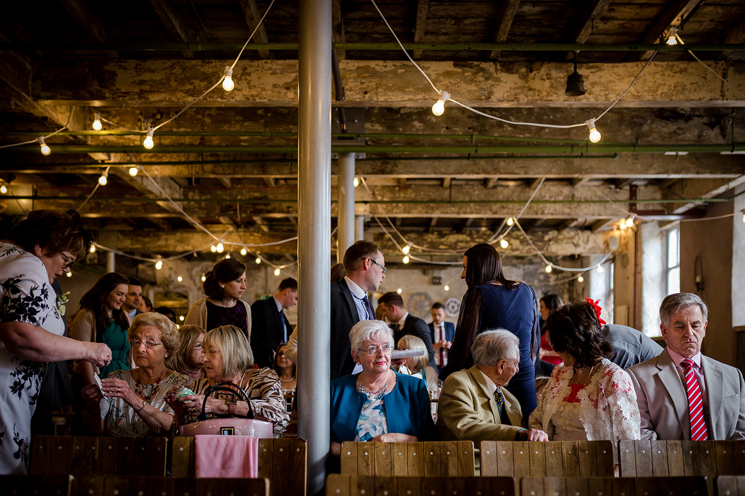 Wedding guests during a holmes mill wedding