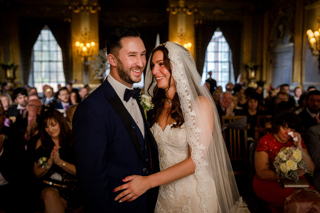 The bride and groom during their Knowsley Hall Wedding