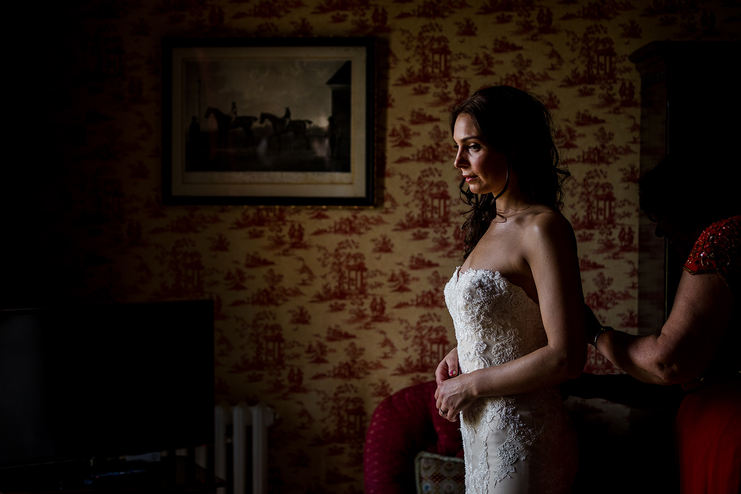 The bride getting ready at Knowsley Hall