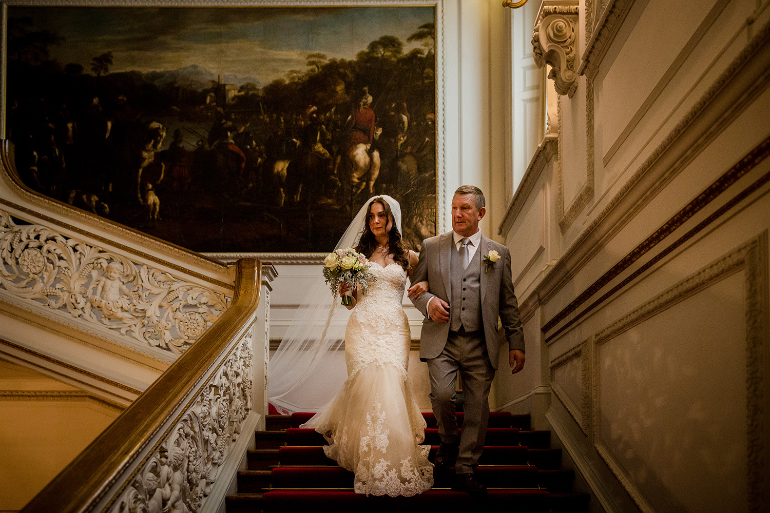The bride with her dad at Knowsley Hall