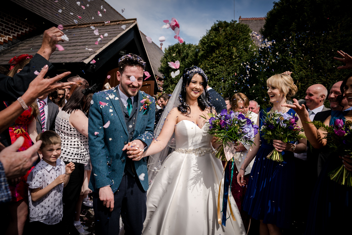 Confetti shower at St Marys church in Middlewich