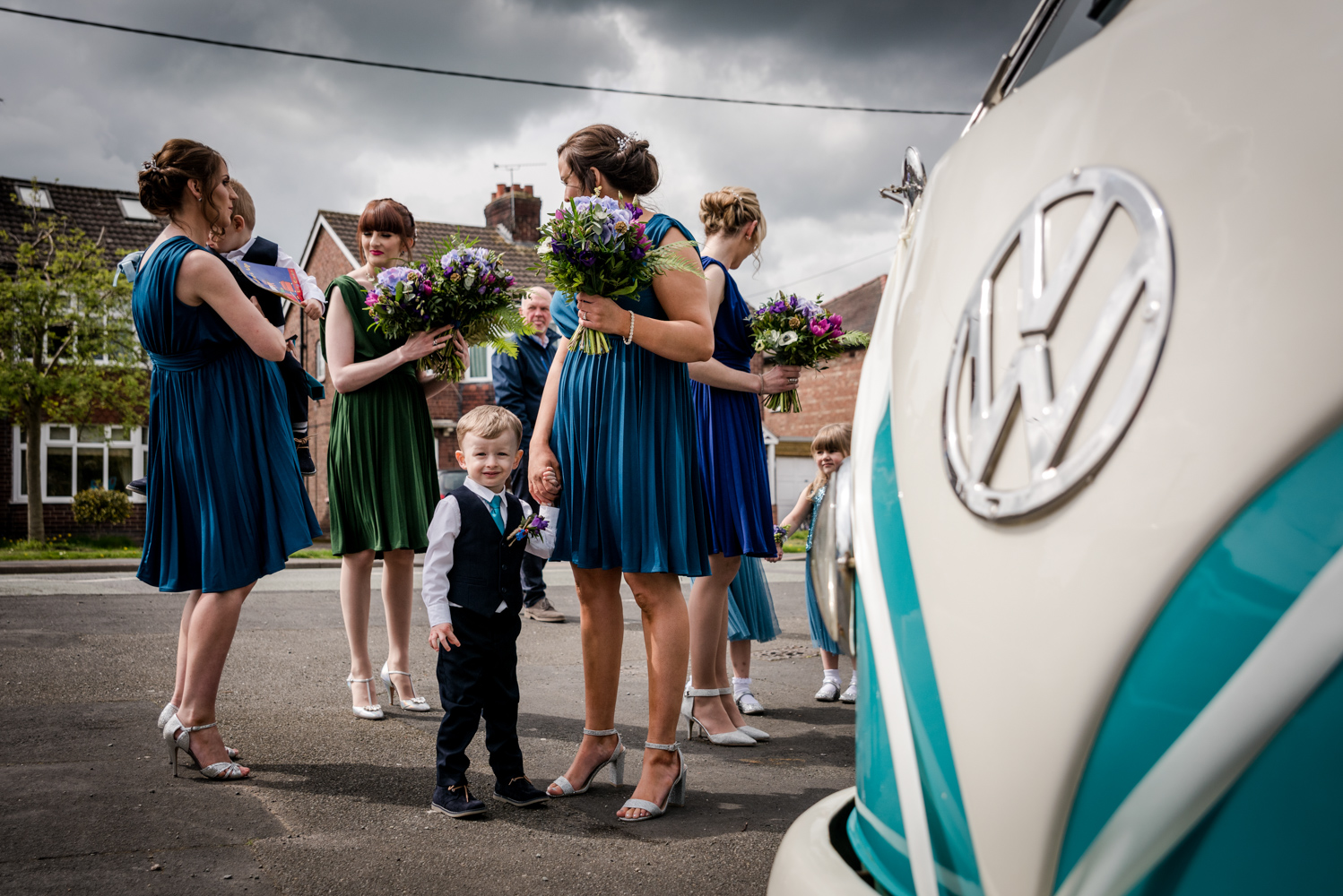 Bridal party waiting by the VW camper van during an Oak Tree Peover Wedding