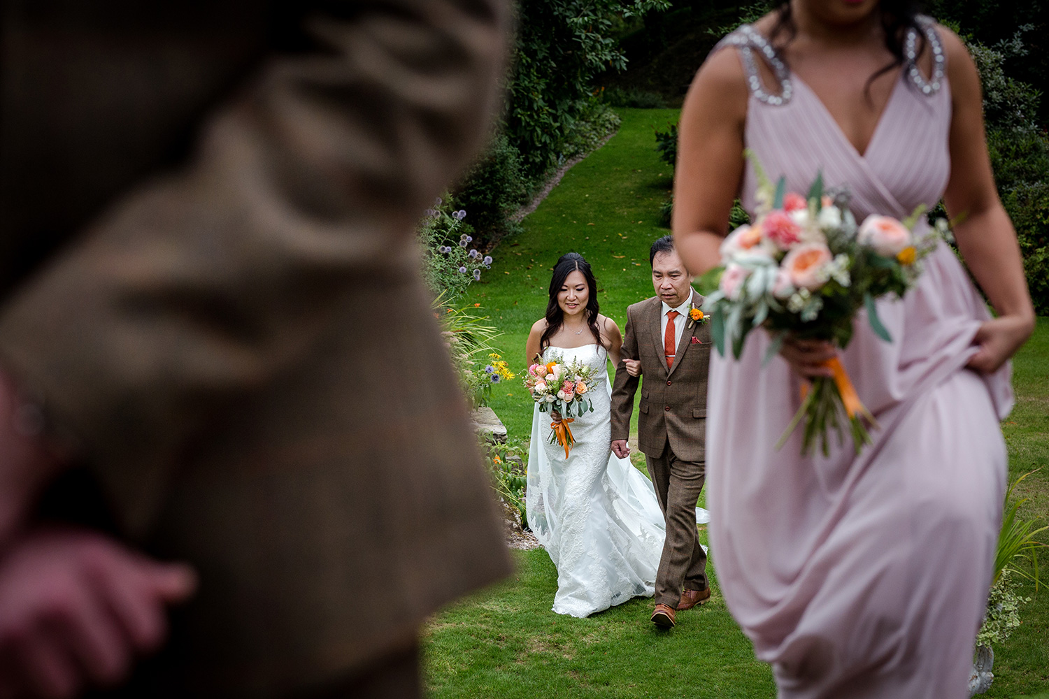 The bride with her dad at a Hilltop Country House Wedding in Cheshire