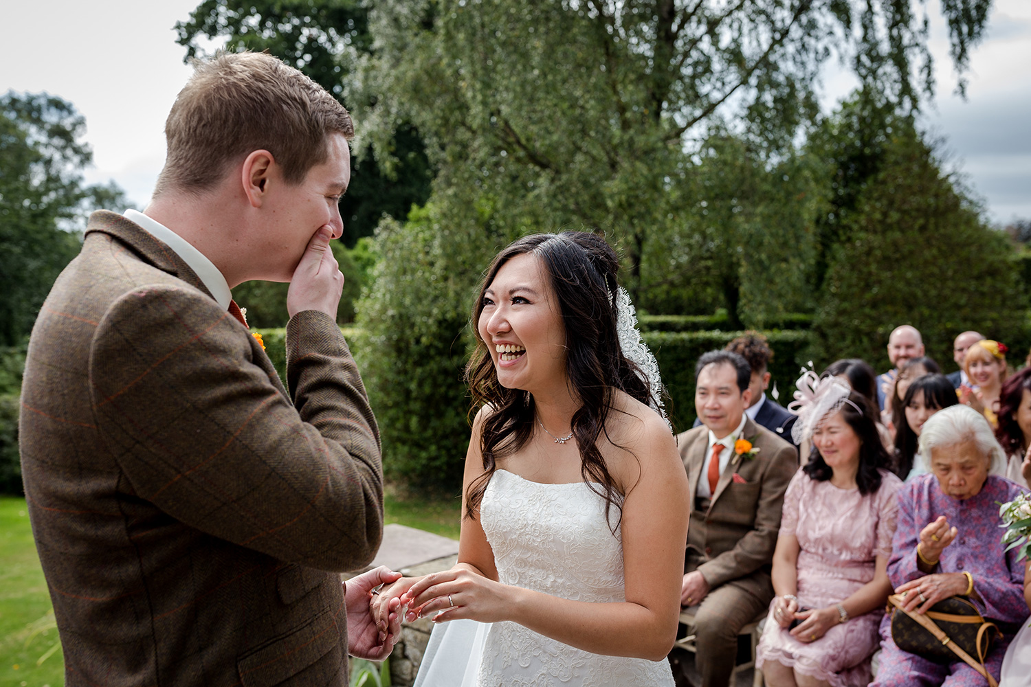 Outdoor ceremony during a Cheshire wedding