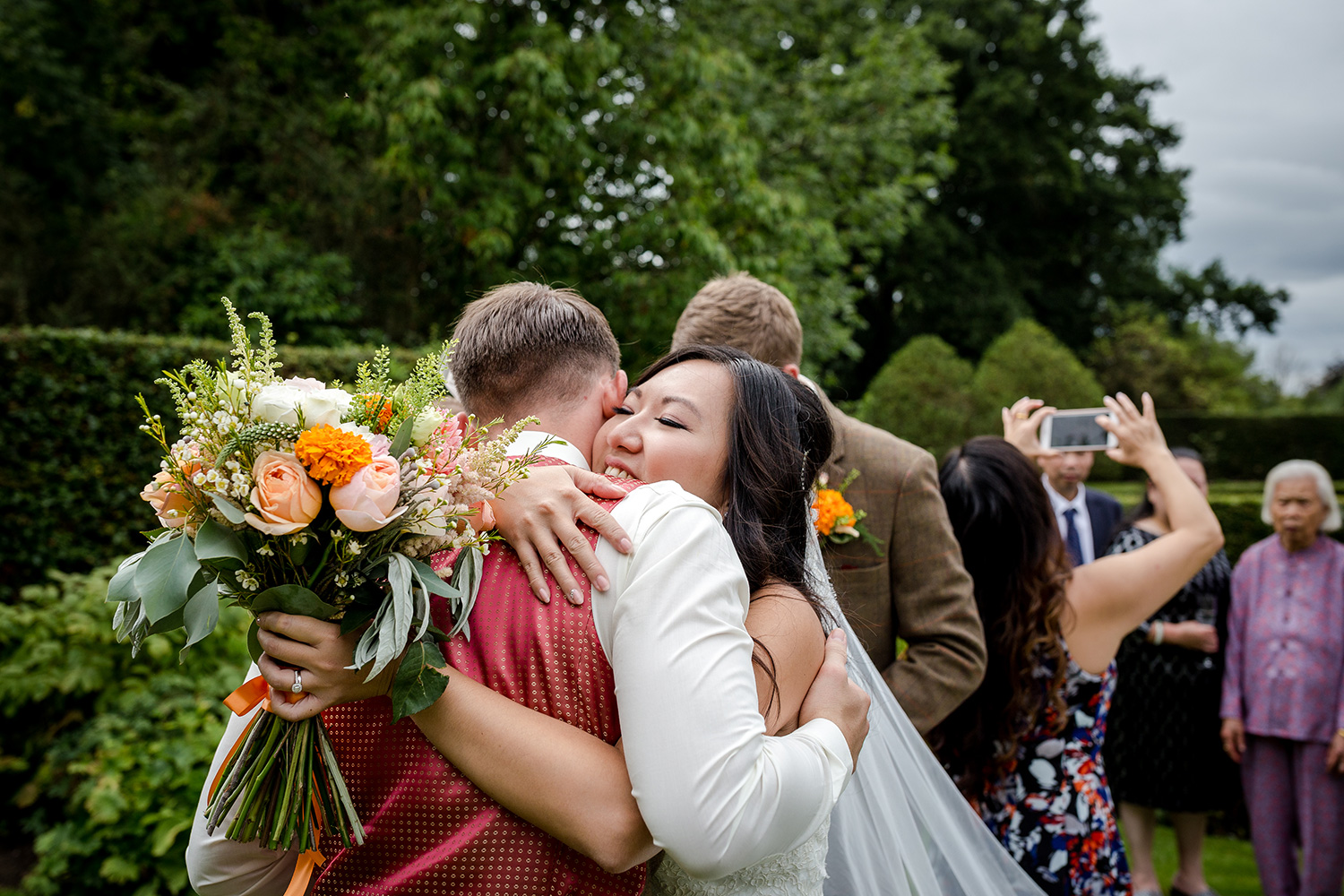 Big hug for the bride at the Hilltop Country House