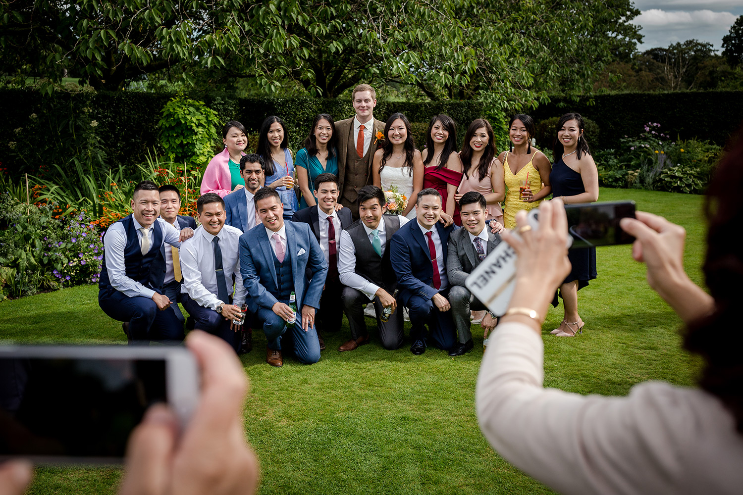 Group shot at a Hilltop Country House Wedding