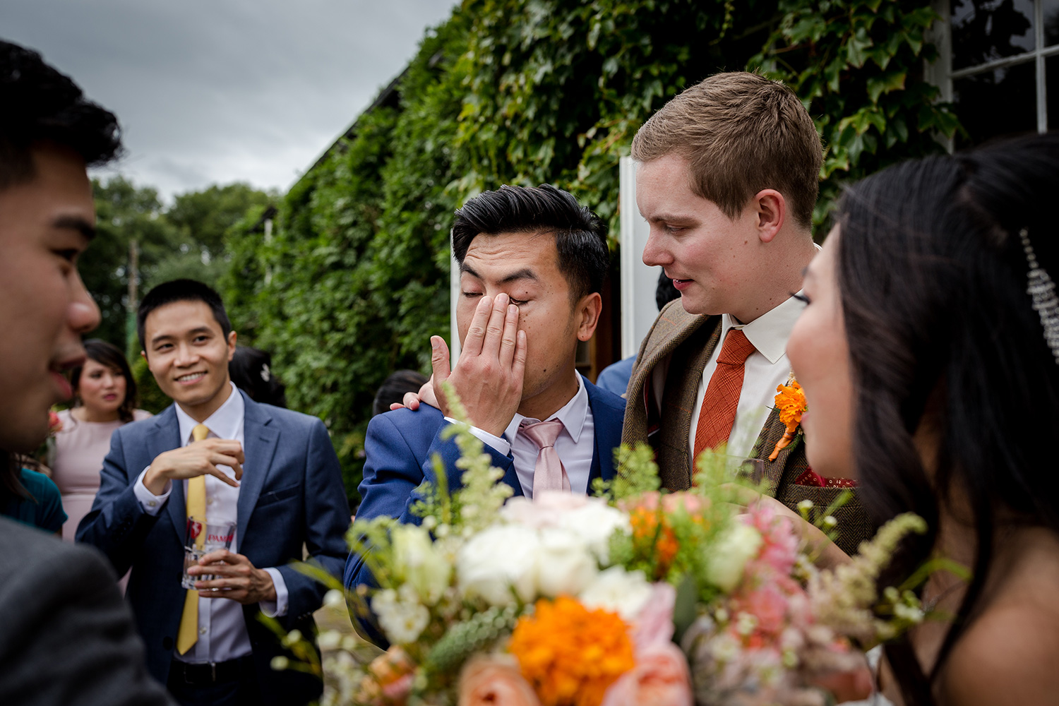 Upset brother of the bride at a Hilltop Country House Wedding