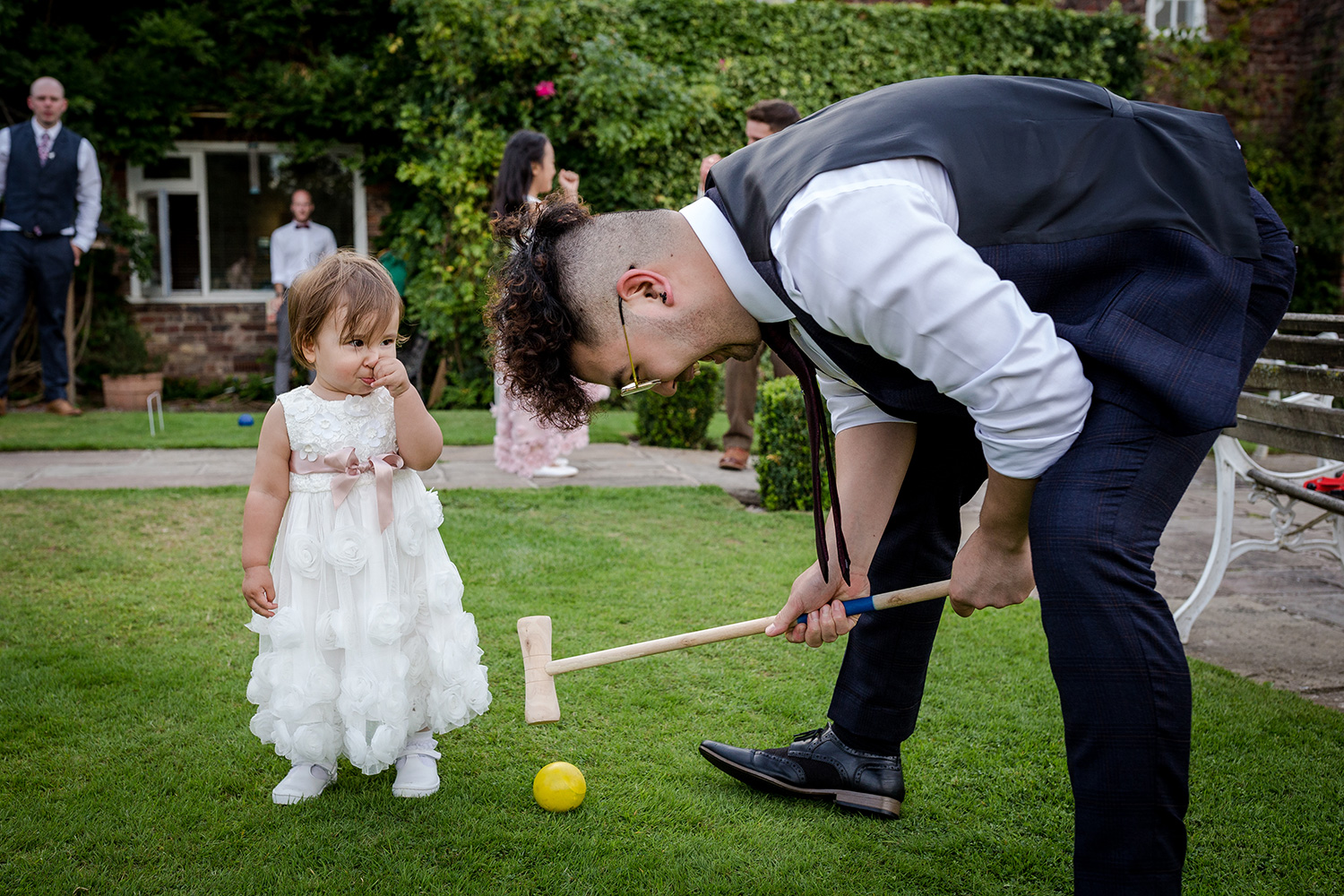 Garden games at a Hilltop Country House Wedding