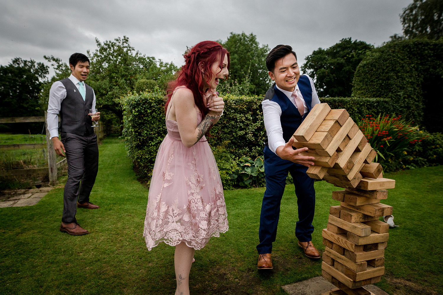 Jenga at a Hilltop Country House Wedding