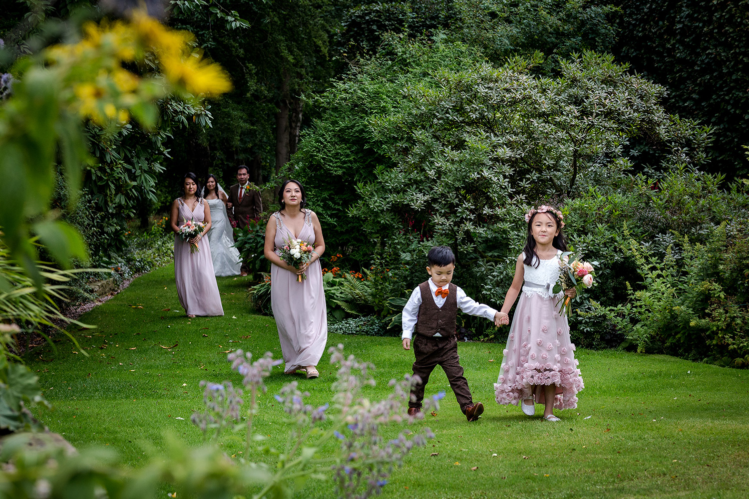 The bridal party at a Hilltop Country House Wedding