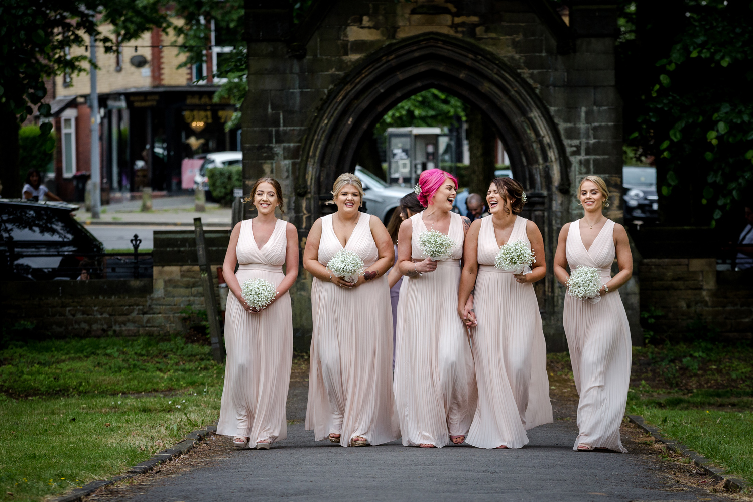 The bridesmaids arrive for the nuns mere hall wedding reception